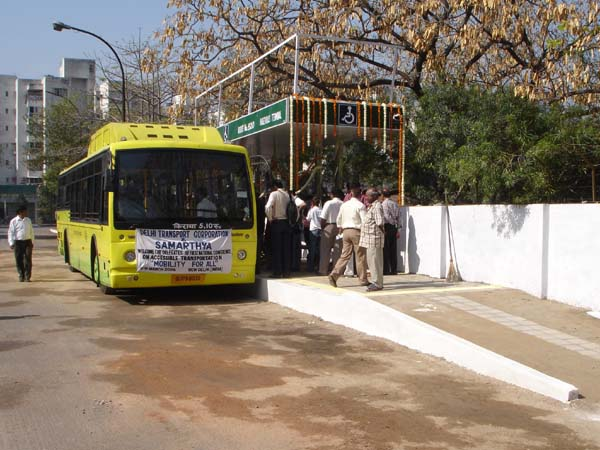 A prototype low-floor bus is tested in New Delhi adjacent to a platform the same height as the bus floor.
