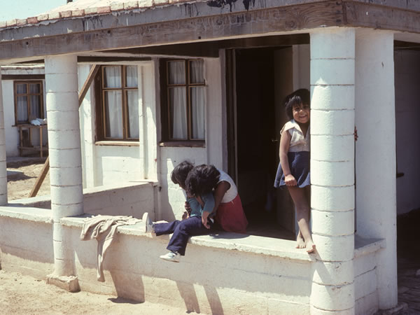 Emma Cosio and her children are laying out the foundations of their house. Mexicali, Mexico, Christopher Alexander
